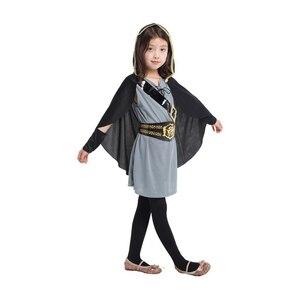 Image 2 - Детский костюм охотницы с капюшоном для девочек, средневековый Карнавальный костюм Рыцарь воин, вечерние костюмы для Хэллоуина