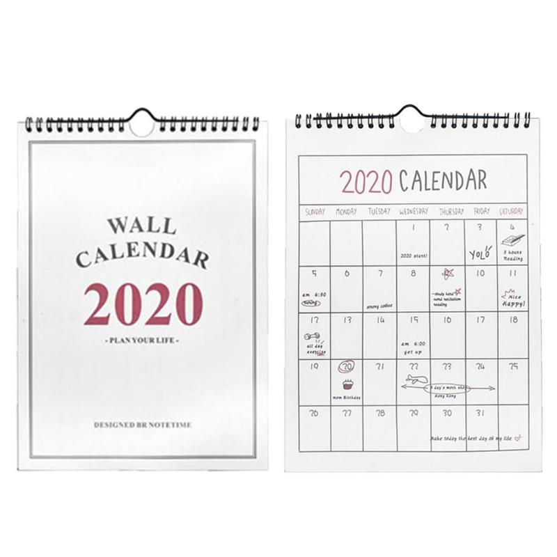 Double Coils 2020 Hanging Calendar Creative Simple/Checker Agenda 365 Days Daily Planner Notes Wall Table Notepad