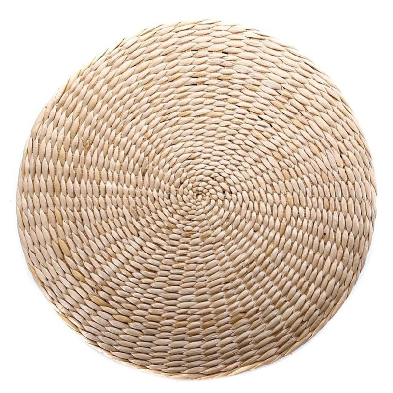 Chair Seat Mat Grass Cushion Pad Beige Handmade Round Straw Weave Pillow Floor Mat Yoga Zen Home Garden Outdoor Patio Decor(50 X