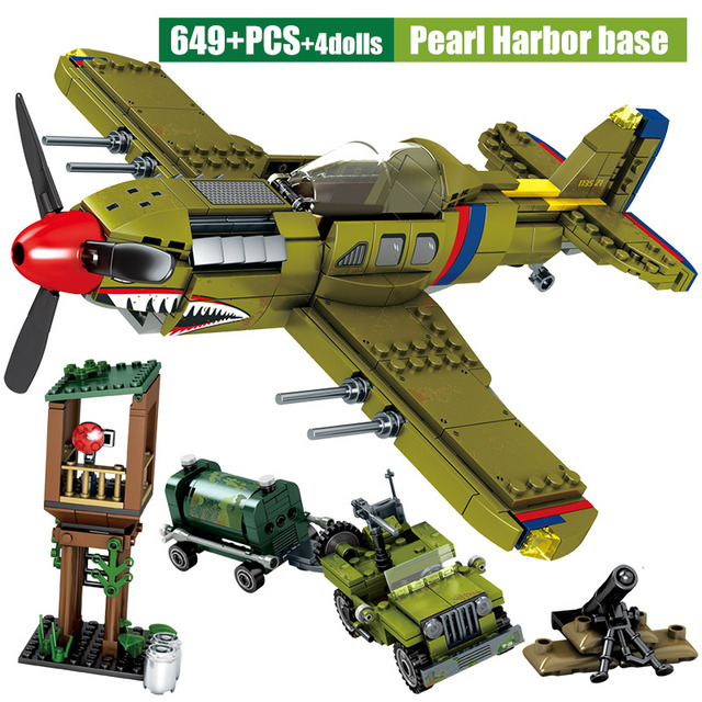 SEMBO Military Series Fighter Airplane Model Building Blocks WW2 Mortar City Police Helicopter Bricks Education Kids Toys