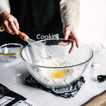 Egg Bowl Tempered Glass Large Baking Bowl Egg Beating Microwave Resistant Salad Bowl Flour Baking Tools
