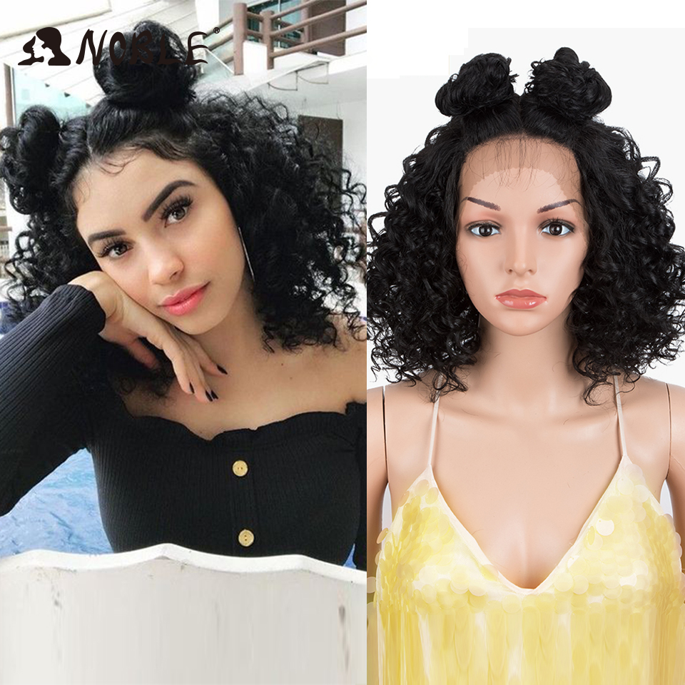 Noble Cosplay Synthetic Lace Wig Curly 20 Inch Short Wig Synthetic Blonde Wig For Black Women Synthetic  Lace Front Wig