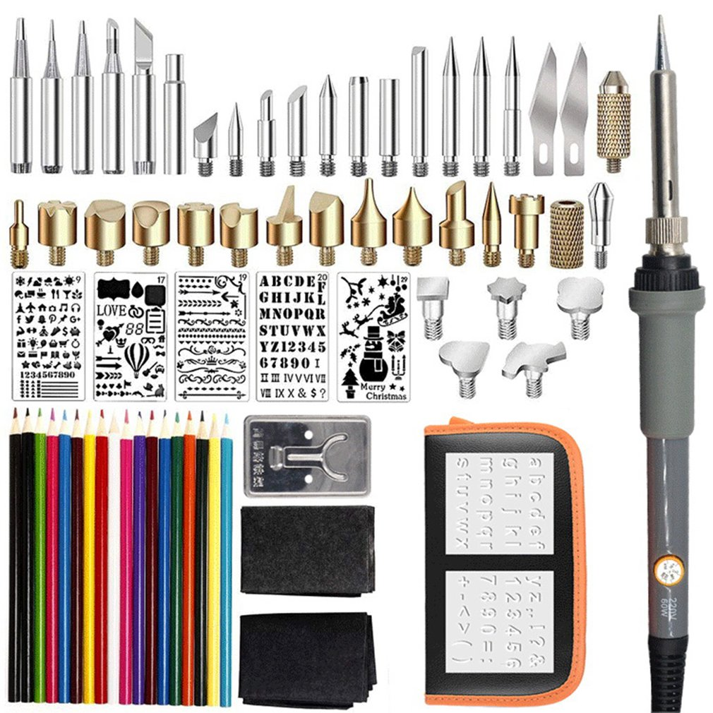71PCS 60W Temperature Adjustable Electric Soldering Iron Kit Wood Burning Pen Set Carving Pyrography Tools Welding Heat Pencil