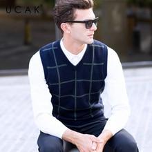 UCAK Brand Pure Merino Wool Sweater Vest Men New 2019 Autumn Winter Pull Homme V-Neck Casual Streetwear Striped Warm Vests U3101