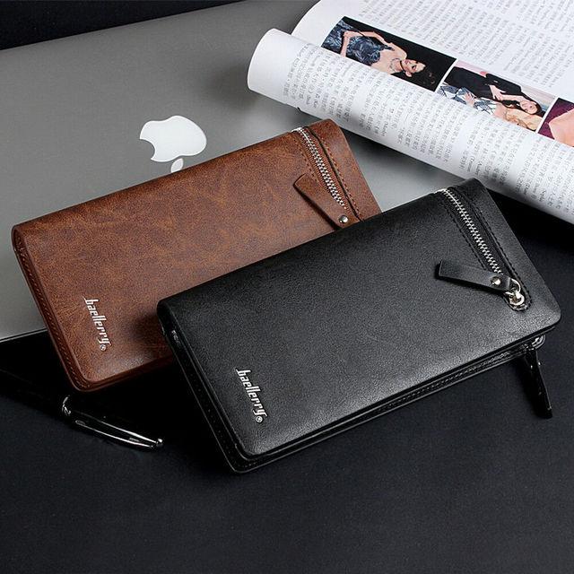 Men Long Wallet Clutch Bag Credit Card Holder Purses Carteira Masculina Carteras Billetera Hombre Leather Money Portfe Carte 3