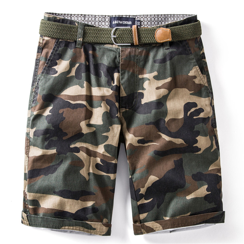 2020 New Summer 100% Cotton Camouflage Shorts Men Knee Length Casual Military Mens Shorts High Quality Fitness Short Men