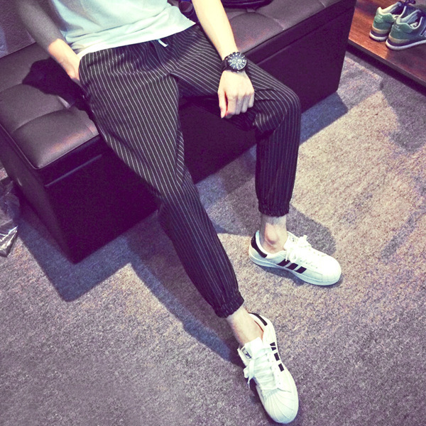 Summer Hot Selling Vertical Stripes Casual Pants Skinny Men Korean-style Loose-Fit Stripes Capri Pants Large Size Men's 9 Points