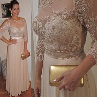 Elegant A Line Mother's Dress with 3/4 Sleeves Fashion Beading Lace Appliques Mother of the Bride Dress Evening Gown