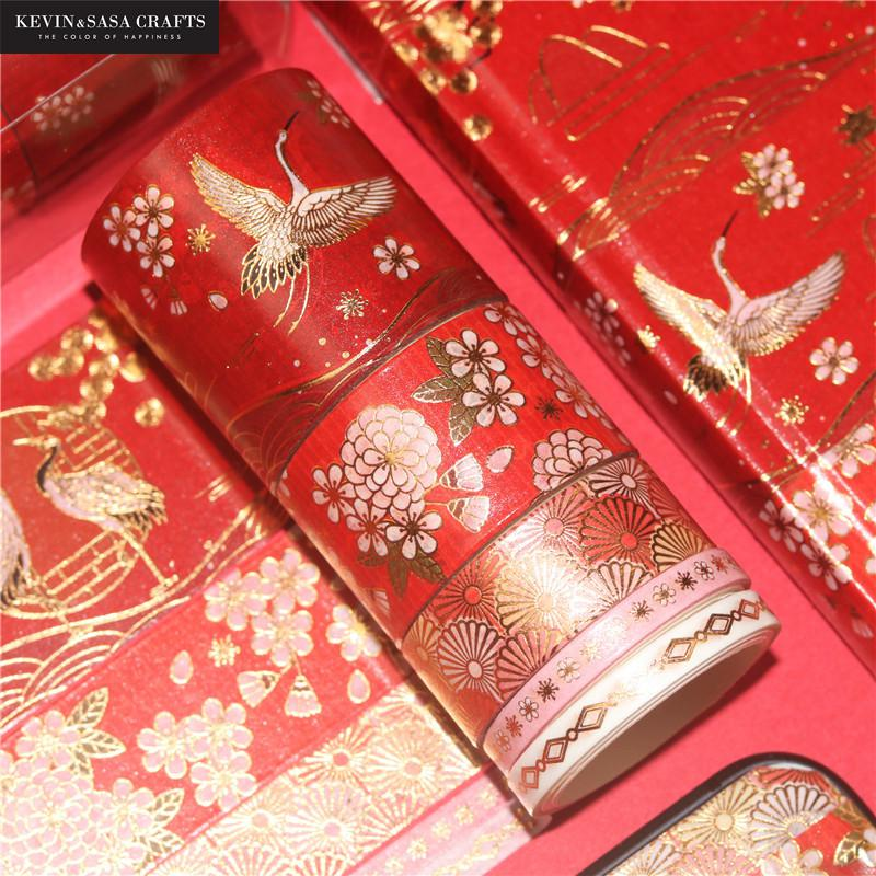 5Rolls/Set Red Foil Washi Tape Set Classical Pattern Masking Tape DIY Office Supplies Presented By Kevin&Sasa Crafts