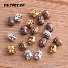 Miçangas espaçadoras para braçadeira diy, 20 peças 7*7*9mm, quatro cores, cabeça de buda, portr, miçangas, encantadores de miçangas pulseiras jóias feitas à mão
