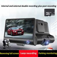 "Car Dvr Cameras 3 Lens Dash Camera Dual Lens 4.0 "" IPS HD Screen Car Recorder With Rearview Camera Video Recorder Dvrs Dash Cam"