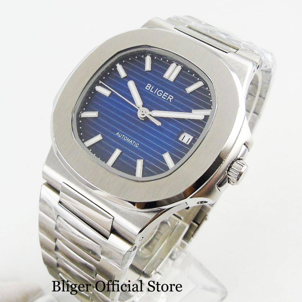 Luxury Style Dress 40mm Men Watch Automatic Movement Blue Sterile Dial Sapphire Glass Date Window Mental Strap Screw Down Crown - 5