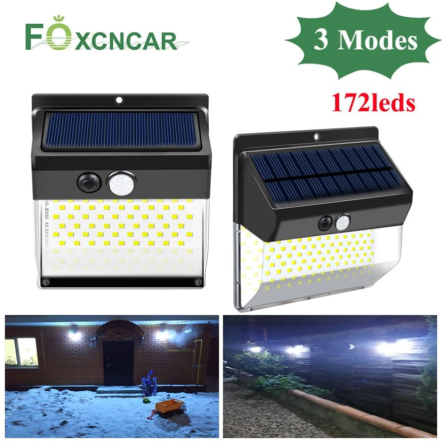 Led Solar Lamp Outdoor Garden Light Solar Powered By Sunlight 3Modes 172leds PIR Sensing Wall Spotlights For Garden Decoration