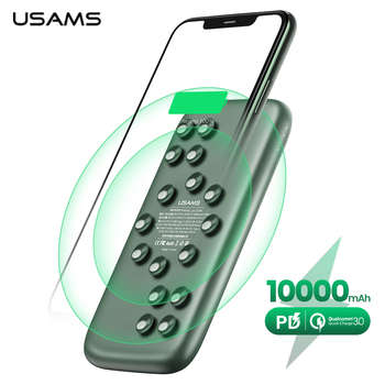 USAMS Qi Wireless Power bank 10000mAh PowerBank Charger for iPhone Samsung fast charging QC 3.0 18W PD Portable External Battery