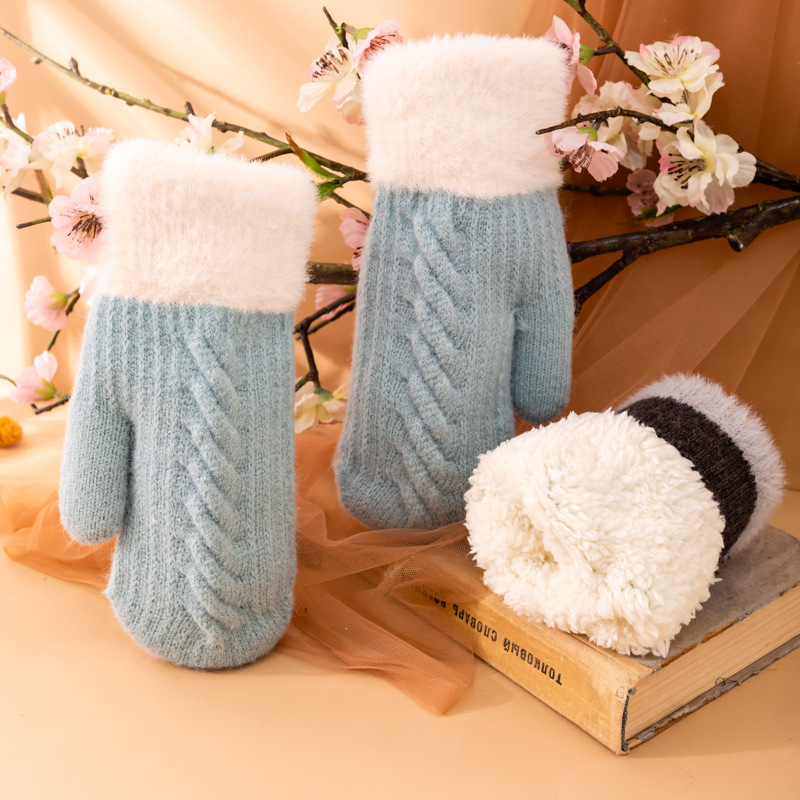 2021 New Fashion Knitting Mittens Women's Winter Black Hand Warmer Gloves Warm and Velvet Thick Cold Waterproof Cycling Gloves