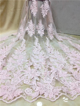 high quality pink  tulle lace African French fabric with sequins embroidery cord lace for party dress X01