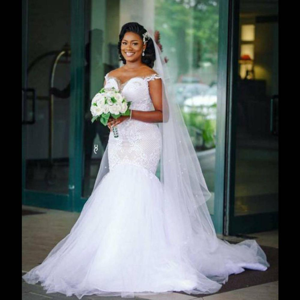 Vintage African Mermaid Wedding Dresses 2020 Off The Shoulder Vestido De Noiva Plus Size Lace Sweep Train Wedding Bride Dress