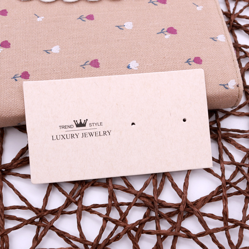 Fashion 100pcs Earring Card Display Jewelry Custom Personal Style  Design 5x9cm Simple Beige Green Paper Wholesale