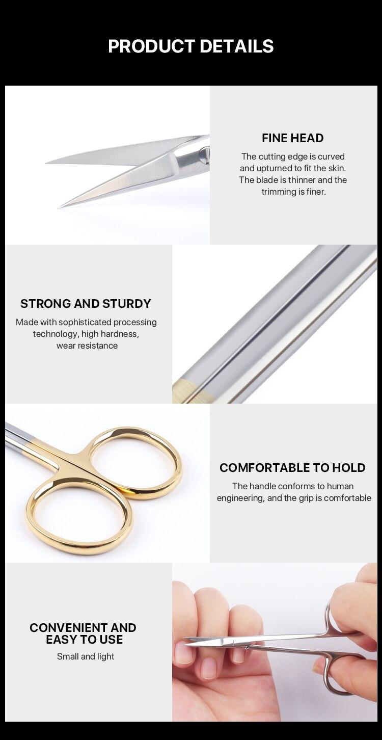 Tesoura de manicure russa ponta curva tesoura