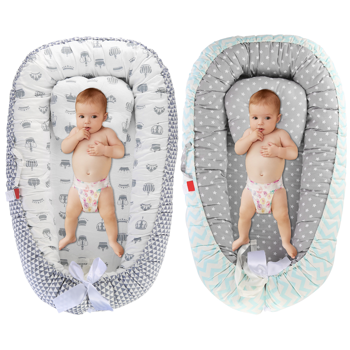 Baby Bassinet Co-Sleeping Bed Washable Portable Hypoallergenic Crib Baby Lounger For 0-1Y