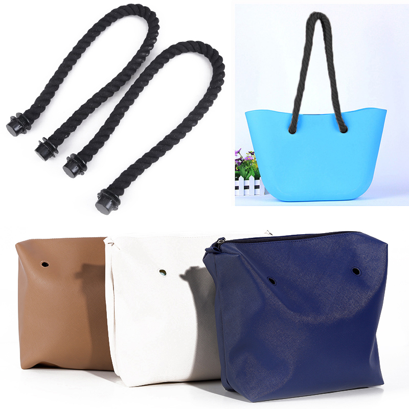1 Pair Mini Black Rope Handle Strap Simple Style Handles For Women Bag Accessories Removable Matching With Tote Bag
