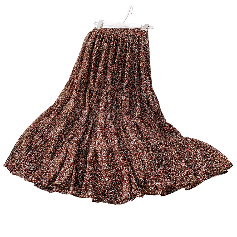 Ladies Elegant Floral Skirt Summer High Waist Layered Stitching Midi Skirt Women OL Boho Beach Skirt