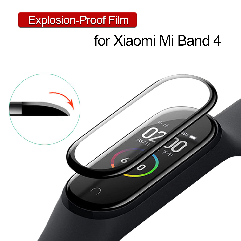 Explosion-proof Film For Xiomi Xaomi Mi Band 4 Band4 Screen Protector Curved Surface Full Coverage Protect Film Balck Edge Cover