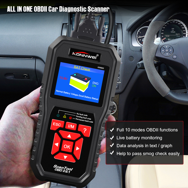 KONNWEI KW850 OBD 2 Diagnostics Auto Diagnostic Scanner OBD2 Scanner Better Than Launch CR5001 In Russian Car Diagnostic Tool