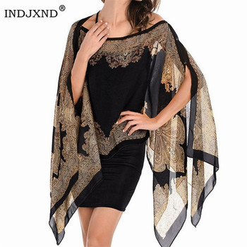 Boho Batwing Sleeve Chiffon Blouse Women Casual Floral Print Loose Kimono Shirts Big Size Beach Tunic Tops Peplum Blusa Robe 1