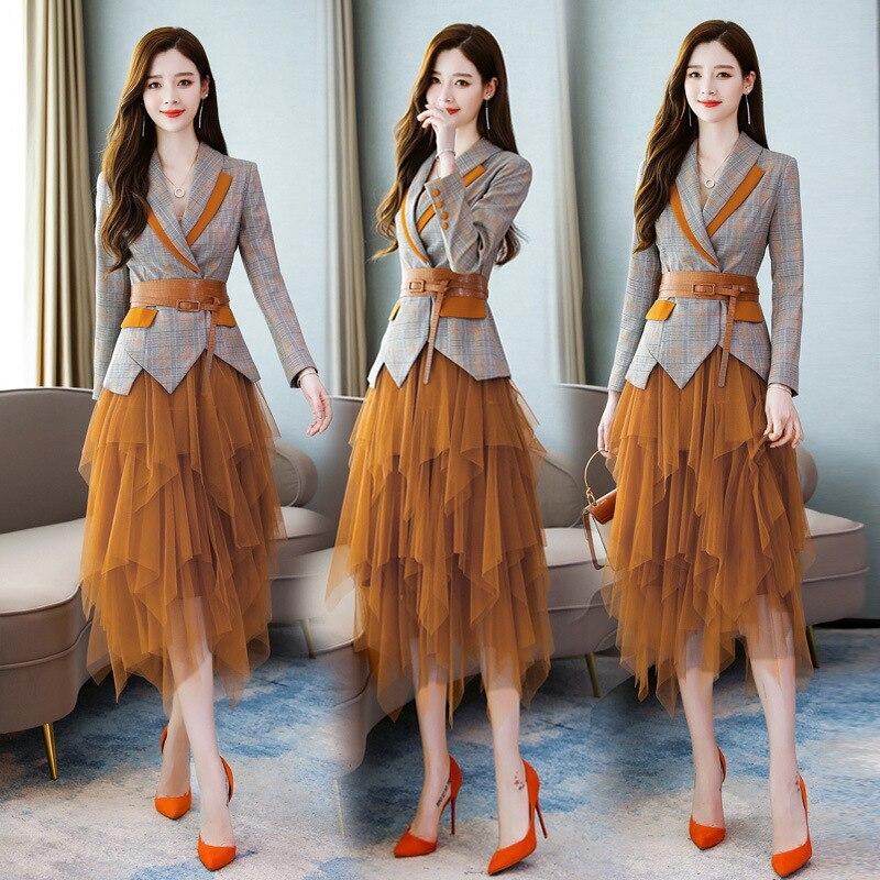 Fashion Plaid Slimming 2019 Autumn Versatile Elegant Korean-style Trend Waist Hugging Two-Piece Set