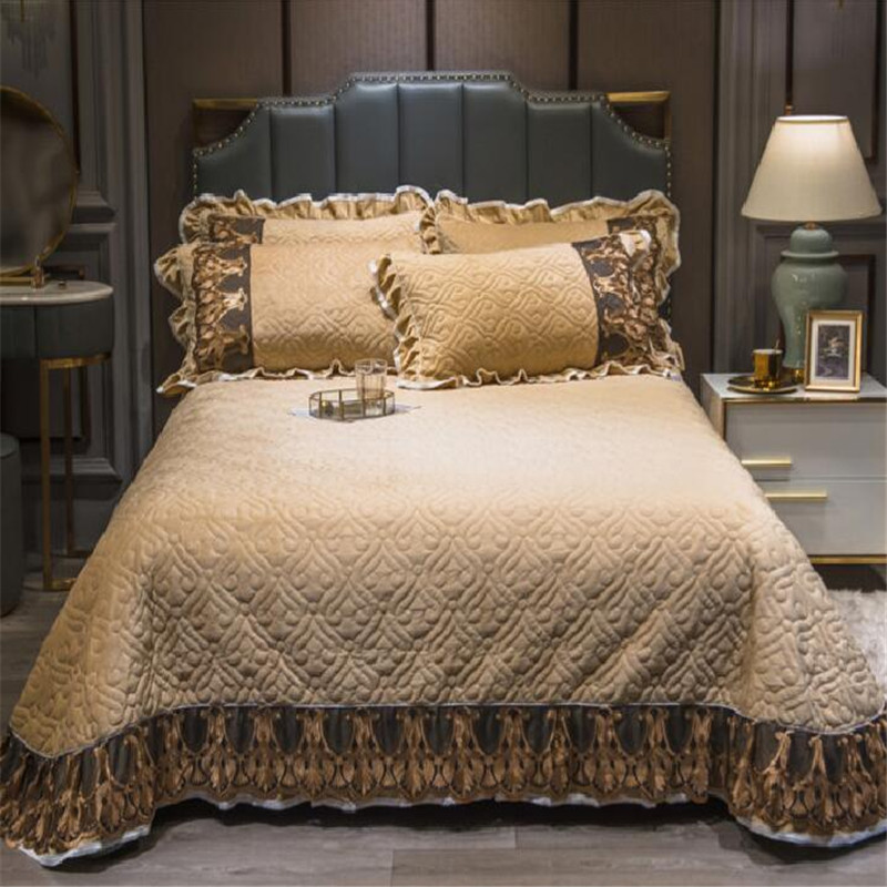 Crystal velvet skirted bed cover luxury 3pcs bedspreads queen size king size bedskirt solid color velvet bed sheet multi-style