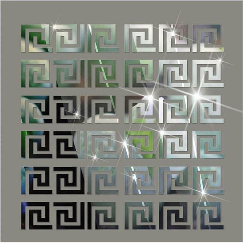 10Pcs 10*10CM DIY Waist Line Mirror Sticker Modern Acrylic Home Decor Wall Stickers For Kids Rooms Living Room