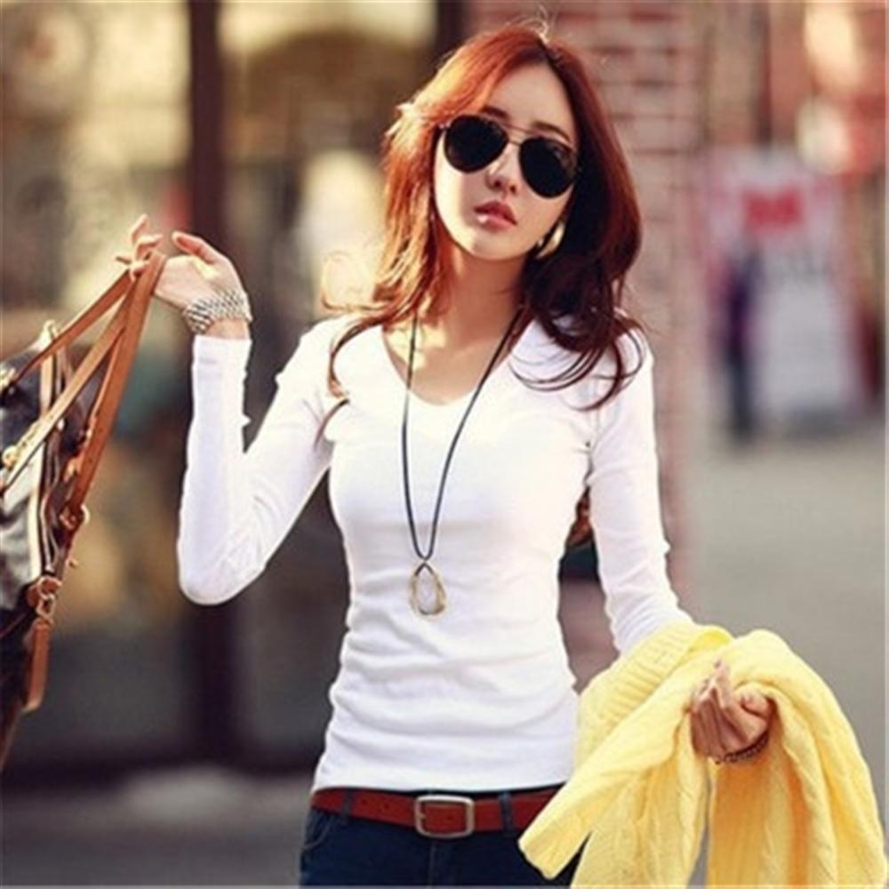 2019 Autumn Women's Solid Color Slim Long-sleeved T-shirt Women's Shirt Bottoming Shirt Round Neck Shirt