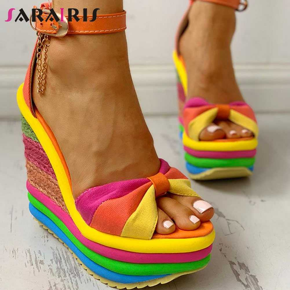 SARAIRIS new Ladies Wedges High Heels Shoes Woman Ankle Strap party Shoes  open toe Platform Rainbow Summer Sandals Women 2020|Women's Sandals| -  AliExpress