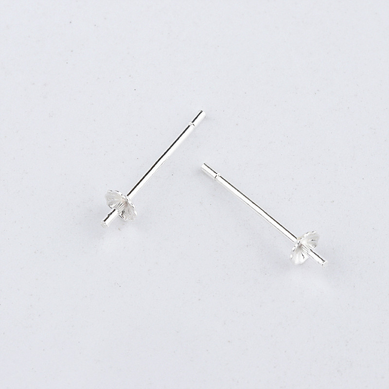 925 Sterling Silver Accessories Pearl Beads Stud Earrings Setting Base Diy Jewelry Making Findings Components A0269 in Jewelry Findings Components from Jewelry Accessories