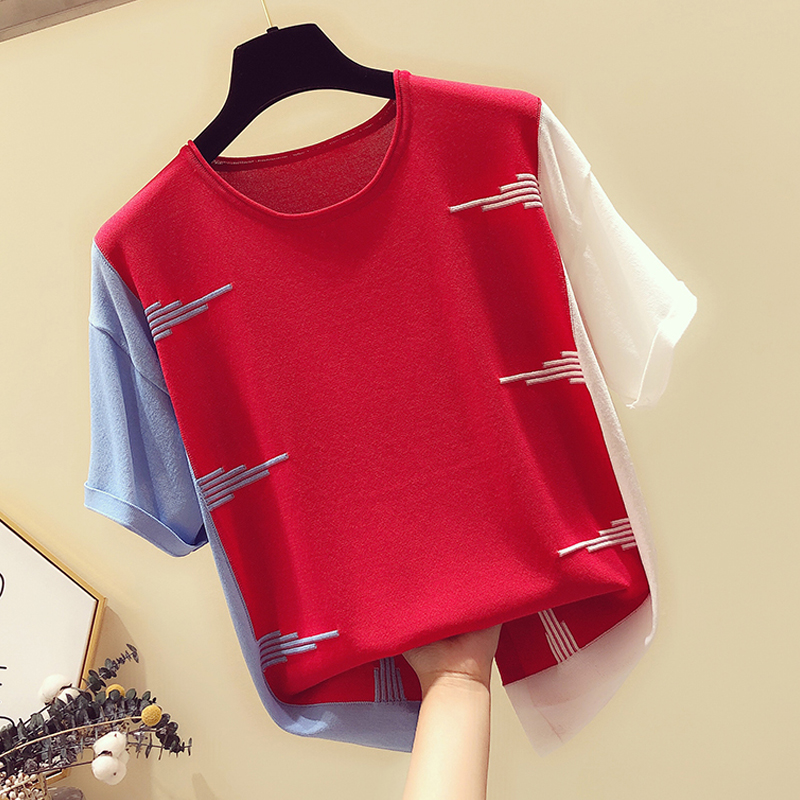 Ultimate SaleShintimes Hit Color Tops T-Shirts Knitted Thin Pink Casual Woman Summer O-Neck Tee