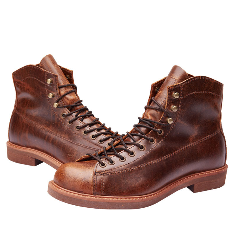Handmade Genuine Leather Red Boots Men Large Size Casual British Winter Ankle Shoes High Quality Ankle Boots Male Winter Boots