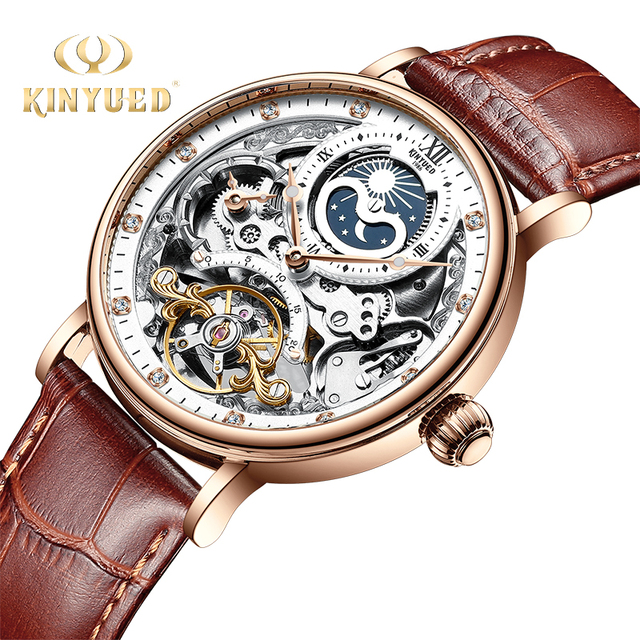 KINYUED Skeleton Watches Mechanical Automatic Watch Men Tourbillon Sport Clock Casual Business Moon Wrist Watch Relojes Hombre 1