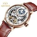 KINYUED часы со скелетом, механические Автоматические часы для мужчин, Tourbillon, спортивные часы, повседневные, бизнес, луна, наручные часы, Relojes ...
