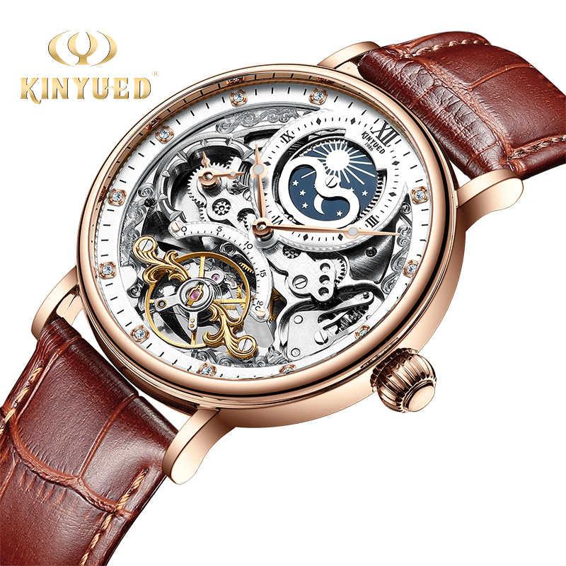 KINYUED Skeletonนาฬิกาอัตโนมัตินาฬิกาผู้ชายTourbillonกีฬาธุรกิจลำลองMoonนาฬิกาข้อมือRelojes Hombre