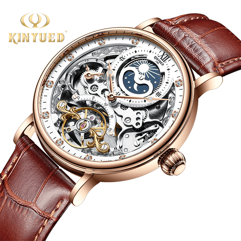 KINYUED Skeleton Watches Sport-Clock Mechanical Automatic-Watch Business Moon Tourbillon title=