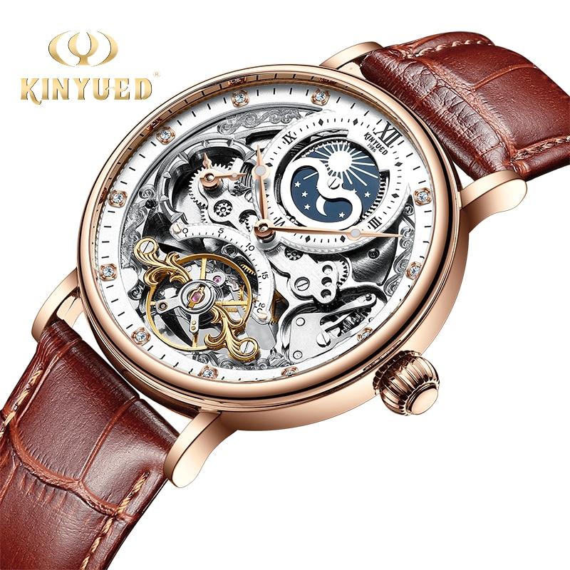 KINYUED Skeleton Watches Mechanical Automatic Watch Men Tourbillon Sport Clock Casual Business Moon Wrist Watch Relojes Innrech Market.com