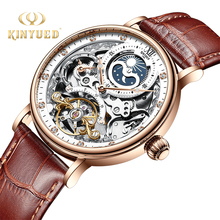 KINYUED Skeleton Watches Mechanical Automatic Watch Men Tour