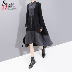 Image 1 - Nuevo 2019 moda europea manga completa mujer invierno negro camisa vestido con Sashes Patchwork señoras elegante vestido de fiesta bata 5743