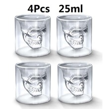 Tea-Cup Skull Bottle Shot Glass Crystal Vodka Whiskey Wine Beer Transparent Double-Layers