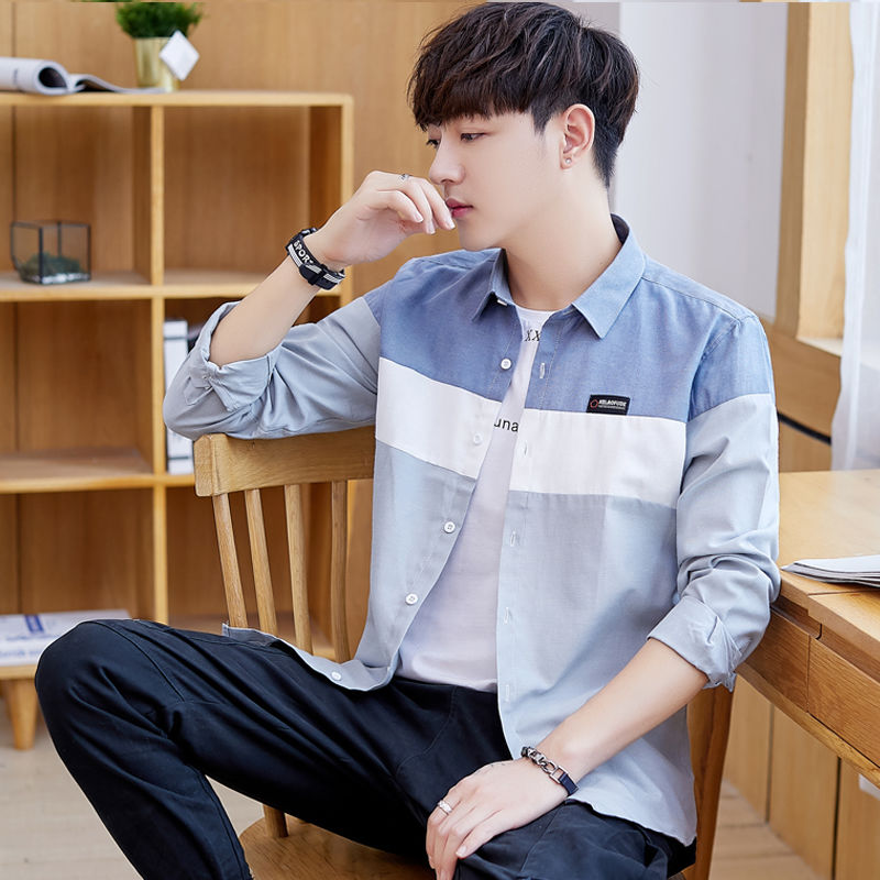 Spring Long-sleeved Shirt Men's Jacket Shirt Wild Youth Korean Trend Student Jacket Men's Shirt Tide