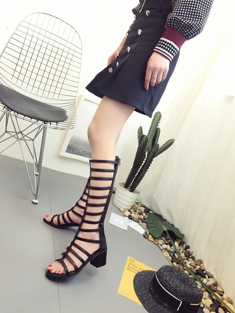 Women Sandals Hollow-Out Knee High Boots Leather Strap Square Heel Summer Gladiator Sandals Sandalias Verano Mujer iok8