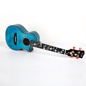 Image 1 - Enya 26 inch Ukulele Flame Maple 23inch Blue Ukulele Concert Tenor ukulele Hawaii Guitar 4 String musical instruments