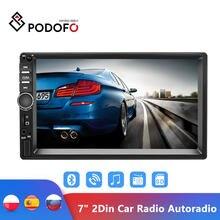 Podofo rádio multimídia automotivo, rádio automotivo com tela sensível ao toque de 7