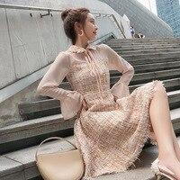 New Style Fashion Women Luxury Designer Autumn Festival Tassel Sweet Long Sleeve Horn Lapel Collar Tweed A Line Dress Dresses
